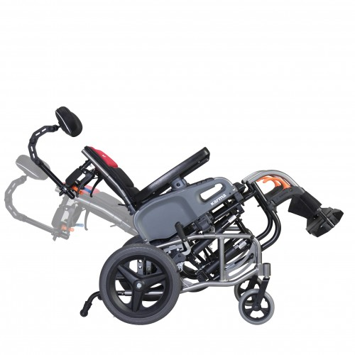 Side viewof Karman VIP2 Tilt in Space Reclining Transport Wheelchair in Tilted Position