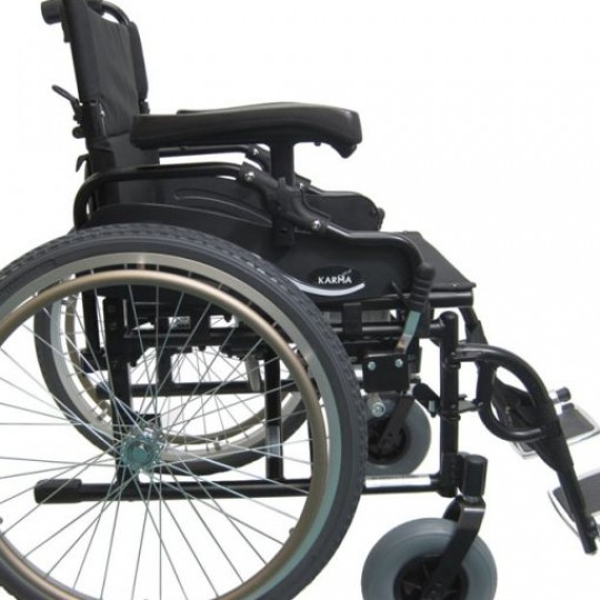 Side view of Karman Extra Wide Lightweight Heavy Duty Wheelchair