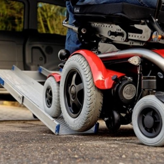 Wheels of a LEVO C3 Standing Power Wheelchair