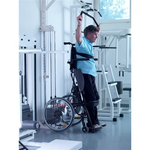 Man working out in a LEVO LCEV Standing Manual Wheelchair