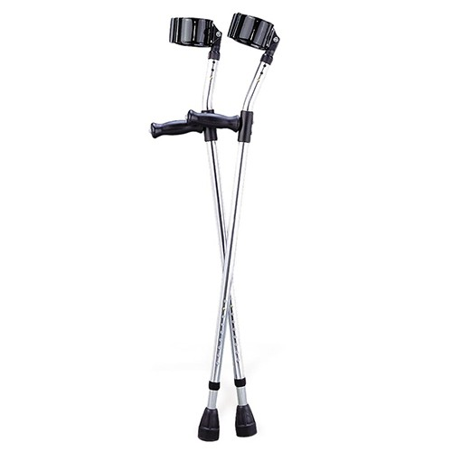 Light grey Medline Forearm Crutches with two vinyl-coated arm cuffs and handles