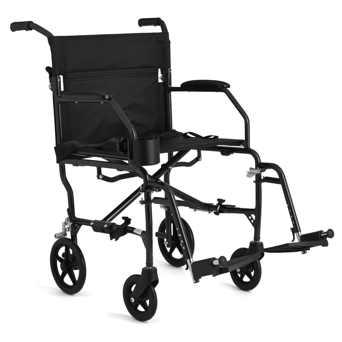 Black Medline Ultralight Transport Wheelchair with 4 wheels and 2 footrests