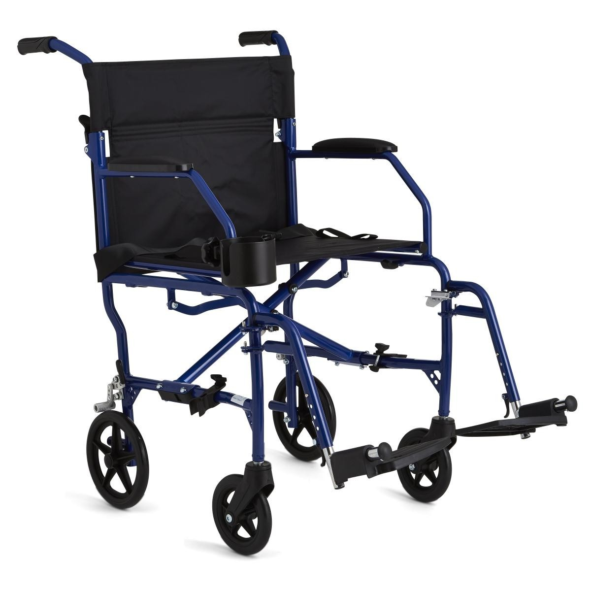 Blue Medline Ultralight Transport Wheelchair with 4 wheels and 2 footrests