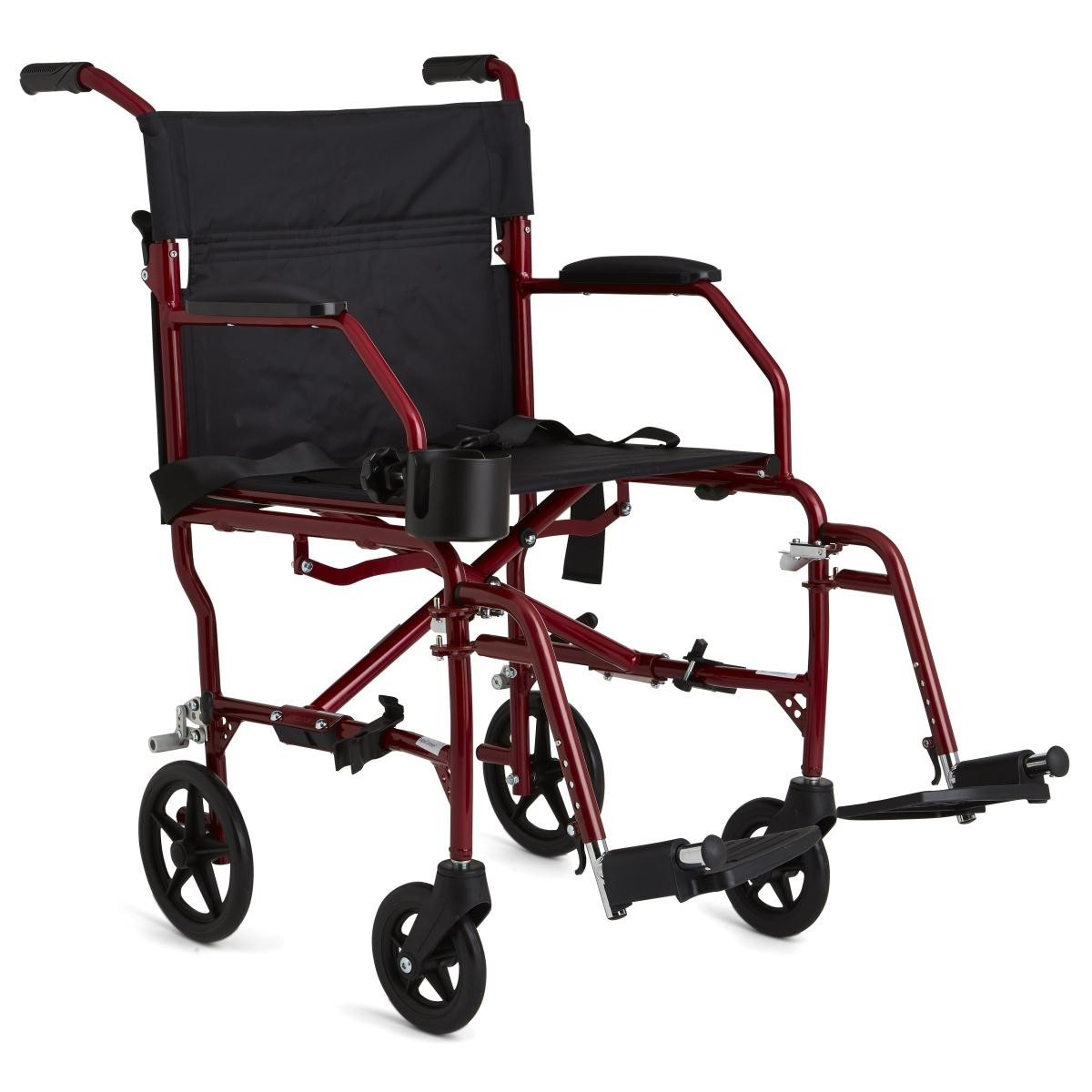 Red Medline Ultralight Transport Wheelchair with 4 wheels and 2 footrests
