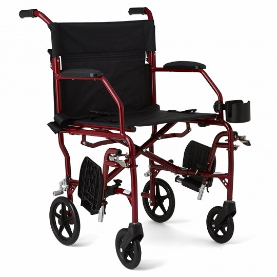 Red Medline Ultralight Transport Wheelchair with 2 footrests locked on the sides