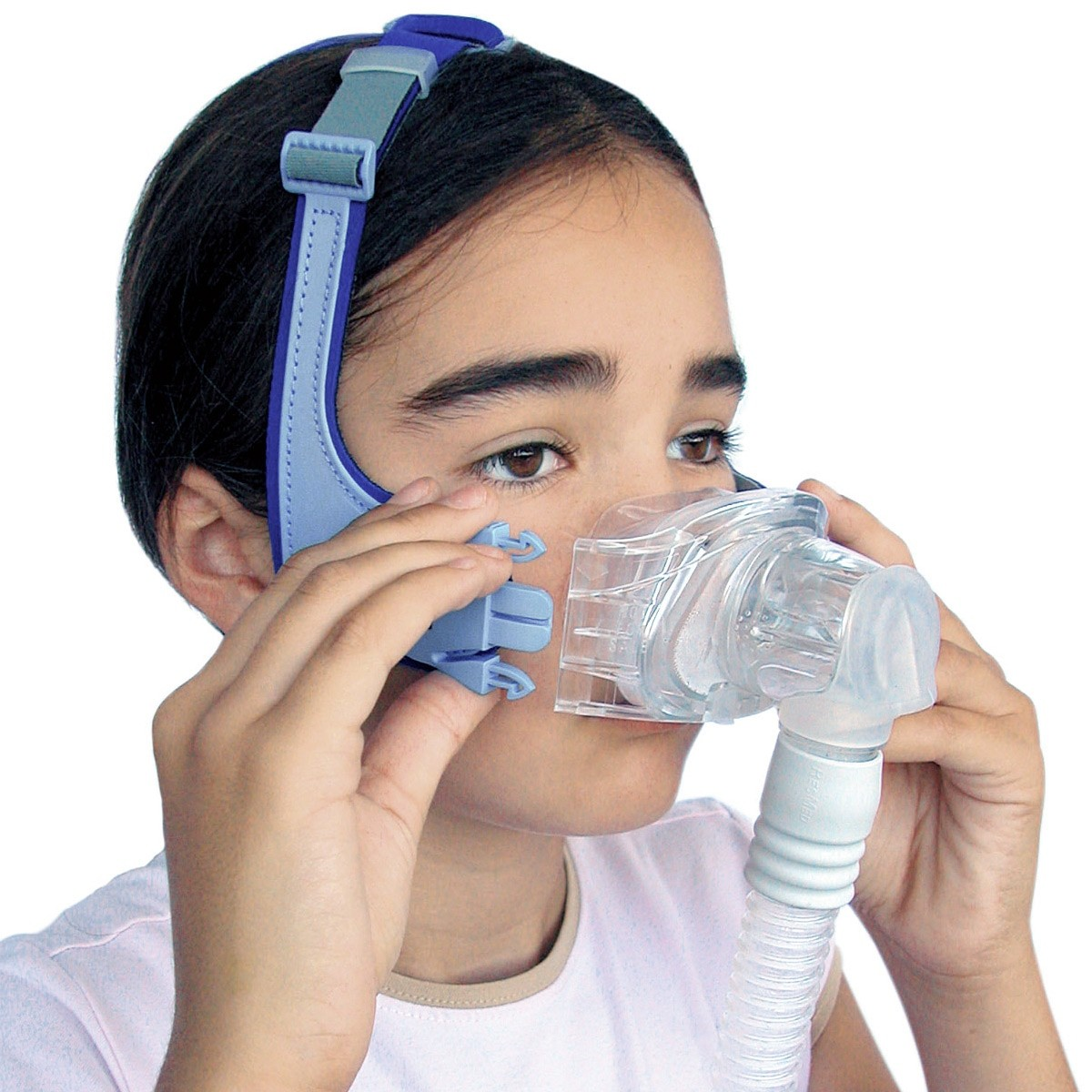 Girl wearing a Mirage Kidsta Nasal CPAP Mask with Headgear