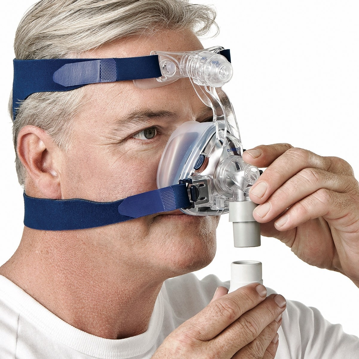Man wearing a Mirage SoftGel Nasal CPAP Mask with Headgear