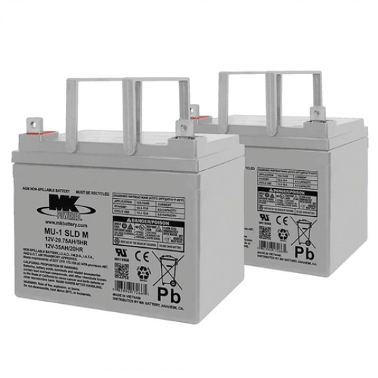 Pair of MK 12V 32AH Sealed Valve-Regulated Lead Acid Batteries