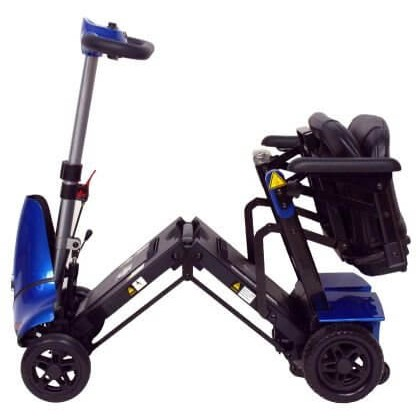 Folded Seat of Blue Mobie Plus Folding Scooter