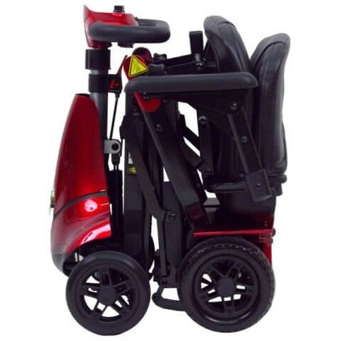 Folded Red Mobie Plus Folding Scooter