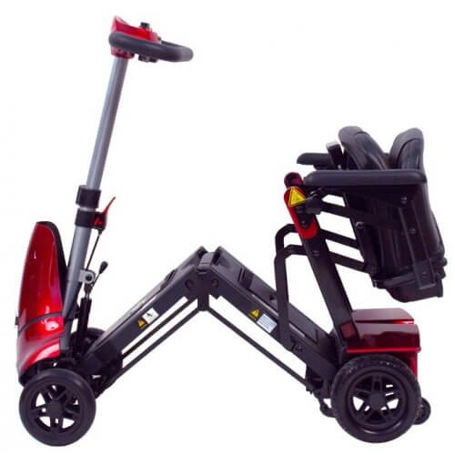 Red Mobie Plus Folding Scooter with a Folded Seat
