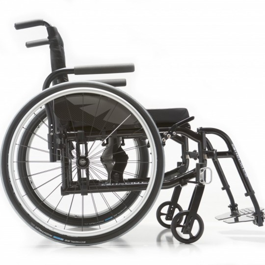 Side view of Motion Composites Helio C2 Ultralight Folding Carbon Fiber Wheelchair