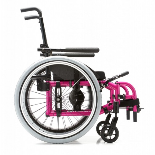 Side view of Pink Helio Kids Wheelchair