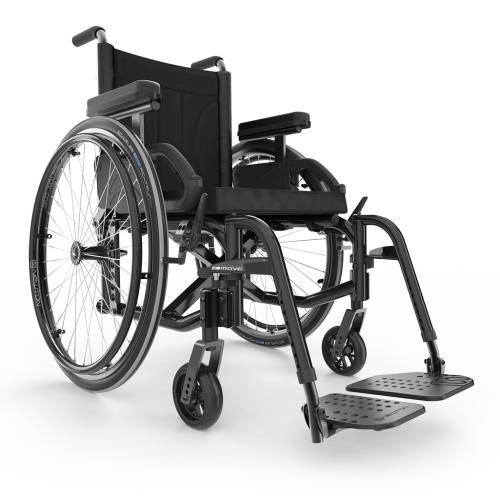 Front view of Black Motion Composites Move Wheelchair