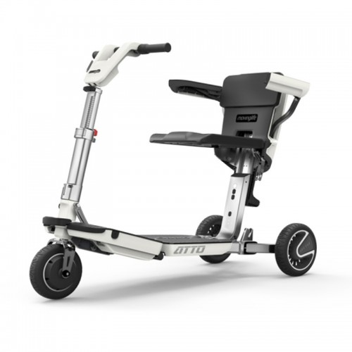 White Moving Lift Atto Folding Mobility Scooter