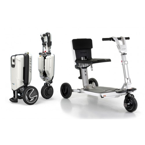 One folded White and one Unfolded Moving Lift Atto Folding Mobility Scooter