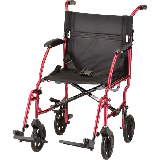 """Red Nova 18"""" Ultra Lightweight Transport Wheelchair with 4 wheels and 2 footrests"""