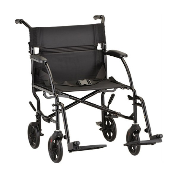 """Black Nova 18"""" Ultra Lightweight Transport Wheelchair with 4 wheels and 2 footrests"""