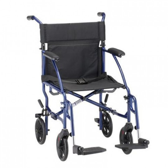 """Blue Nova 18"""" Ultra Lightweight Transport Wheelchair with 4 wheels and 2 footrests"""