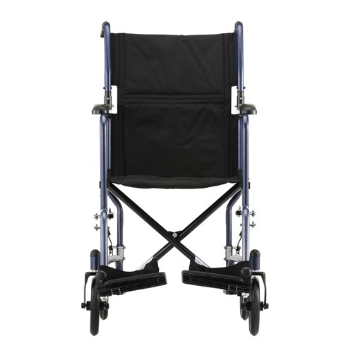Front view of Blue Nova 19 inch Lightweight Transport Chair