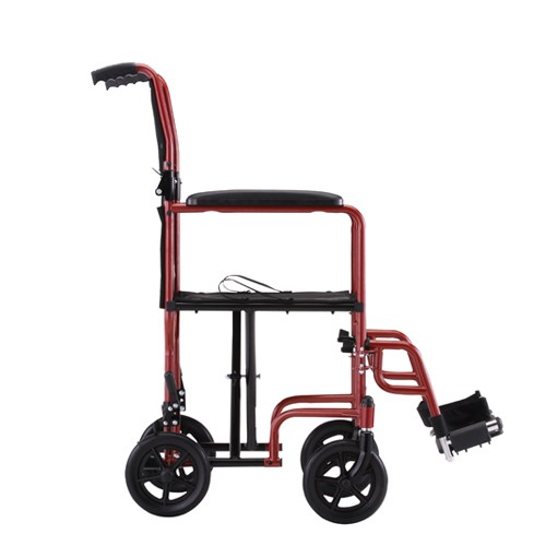 Side view of Red Nova 19 inch Lightweight Transport Chair