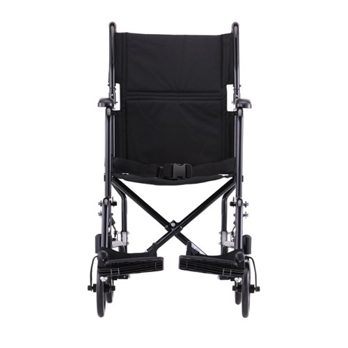 Front view of Black Nova 19 inch Lightweight Transport Chair