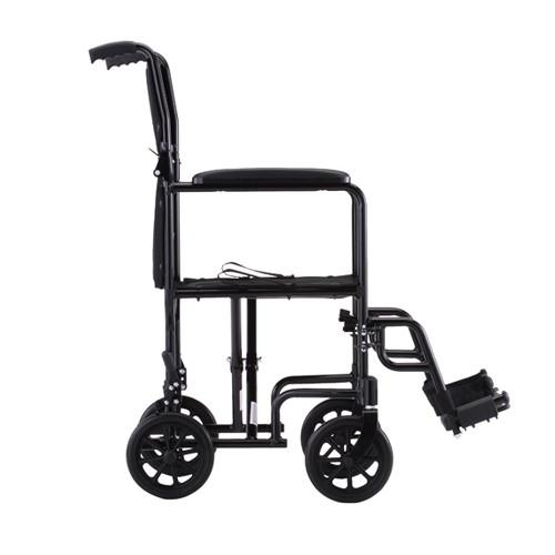 Side view of Black Nova 19 inch Lightweight Transport Chair