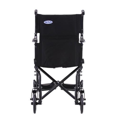 Back view of Black Nova 19 inch Lightweight Transport Chair