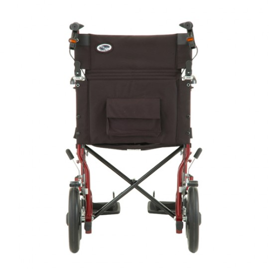 """Back view of Red Nova 19"""" Transport Chair with 12 inch Rear Wheels"""