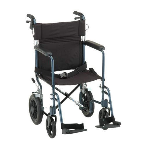 """Blue Nova 19"""" Transport Chair with 12 inch Rear Wheels and 2 footrests"""