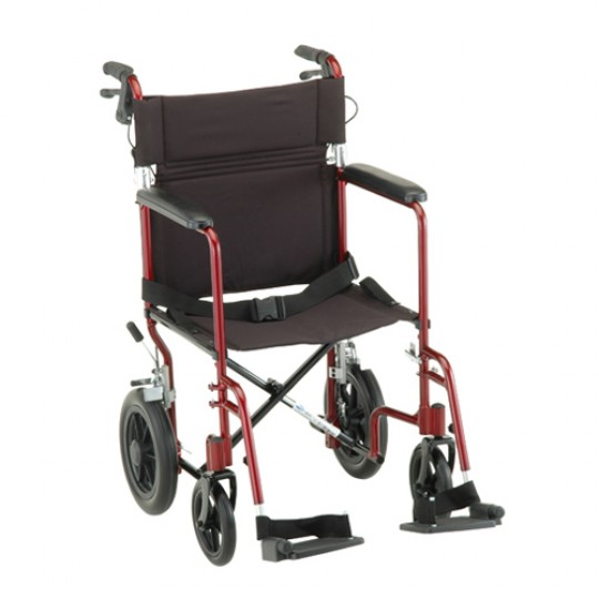 """Red Nova 19"""" Transport Chair with 12 inch Rear Wheels and 2 footrests"""
