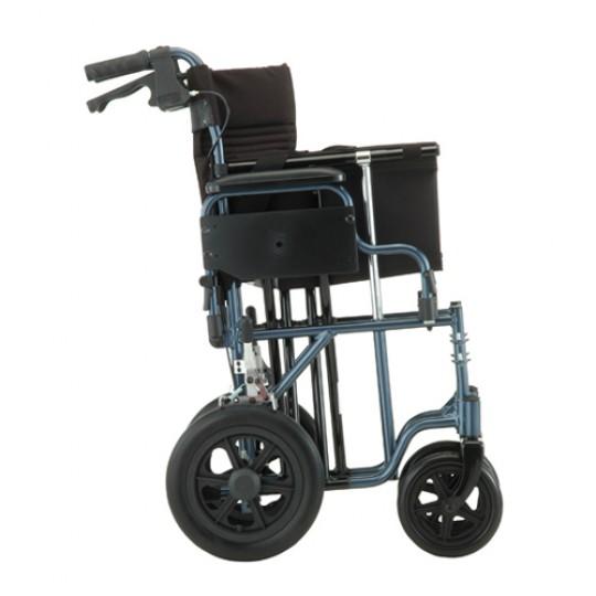 """Side view of Blue Nova 22"""" Heavy Duty Transport Chair with 12"""" Rear Wheels"""