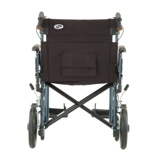"Back view of Blue Nova 22"" Heavy Duty Transport Chair with 12"" Rear Wheels"