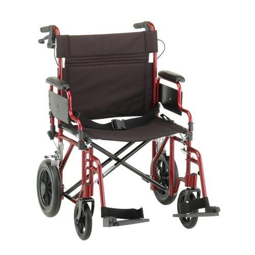 "Red Nova 22"" Heavy Duty Transport Chair with 12"" Rear Wheels"