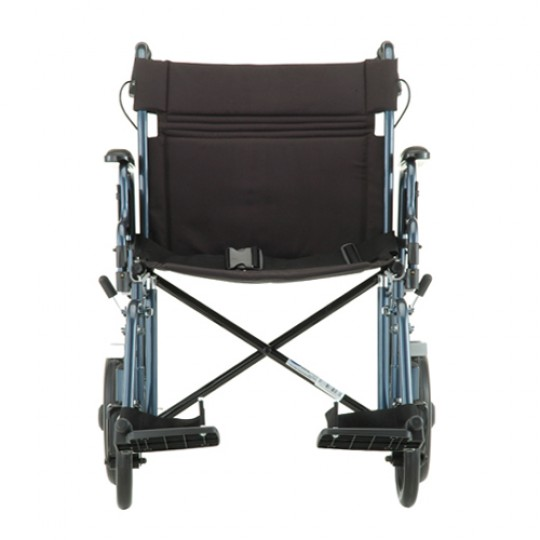 "Front View of Blue Nova 22"" Heavy Duty Transport Chair with 12"" Rear Wheels"