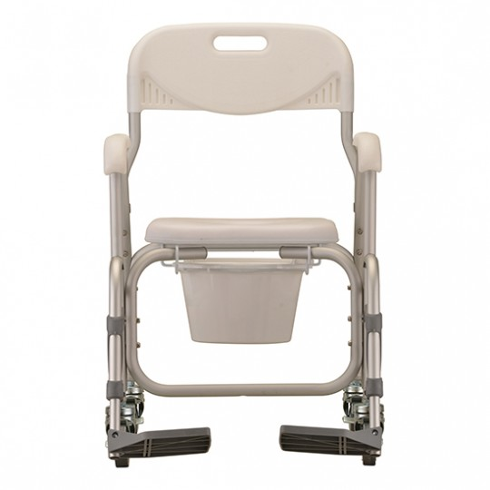 Front View of White Nova Deluxe Shower Chair and Commode