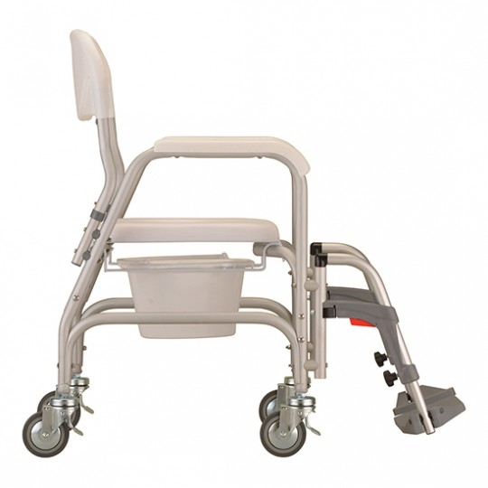 Side View of White Nova Deluxe Shower Chair and Commode