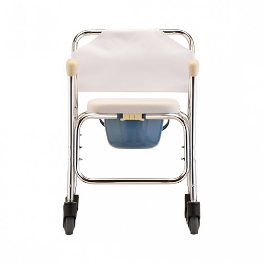 Back View of White Nova Commode Shower Chair with Wheels