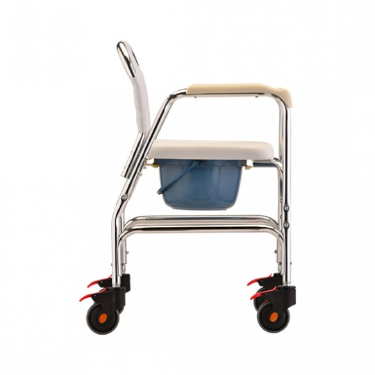 Side View of White Nova Commode Shower Chair with Wheels
