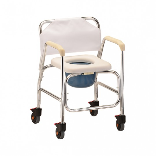 Front View of White Nova Commode Shower Chair with Wheels