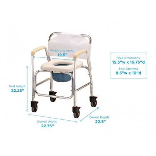 Measurements of White Nova Commode Shower Chair with Wheels