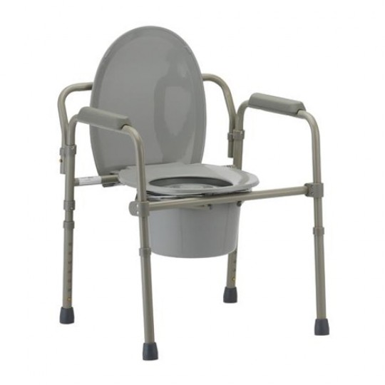 Nova Folding Bedside Commode Chair with Toilet Seat Lifted