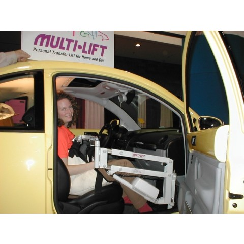 Woman getting into a car with an Access Unlimited Multi Lift Car Transfer Lift