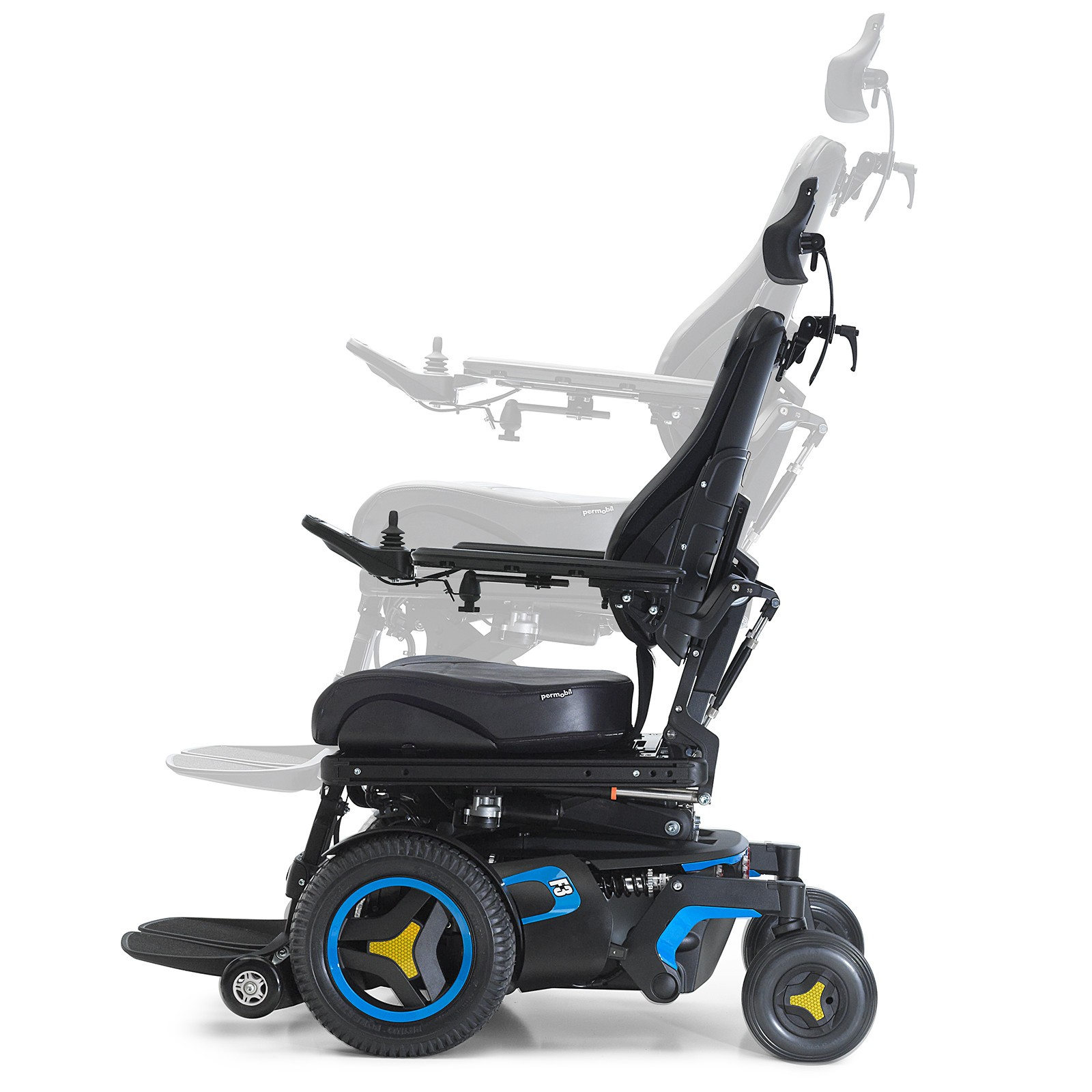 Side view of Blue Permobil F3 Corpus Front Wheel Power Wheelchair
