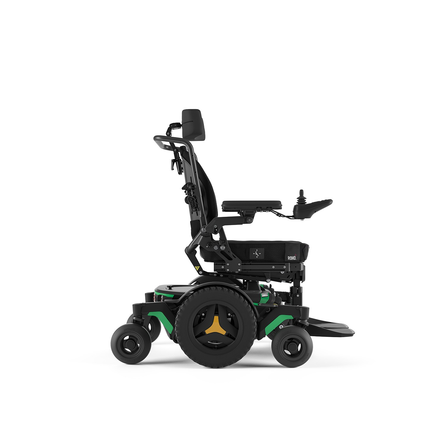 Side view of Green Permobil M1 Mid Wheel Power Wheelchair
