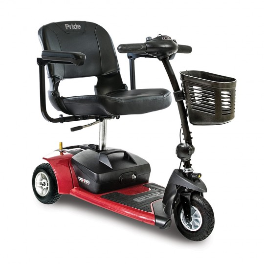 Front view of Red Pride Go-Go Ultra X 3-Wheel Mobility Scooter