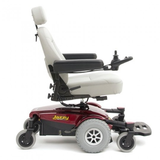 Side view of White Pride Jazzy Select 6 Power Wheelchair