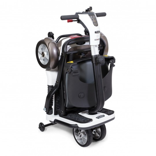 Folded White Pride Mobility Go-Go Folding Mobility Scooter