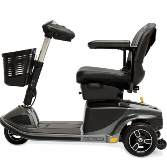 Side view of Pride Revo 2.0 3-Wheel Mobility Scooter