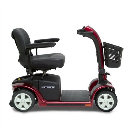 Side View of Red Pride Victory 9 4-Wheel Mobility Scooter